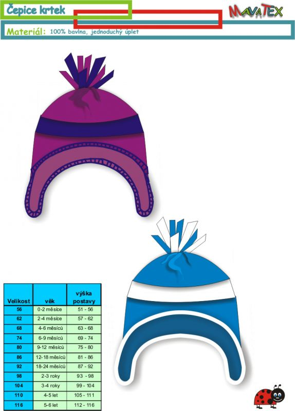 dětská čepice