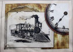 Panelový tisk - vlak s hodinami
