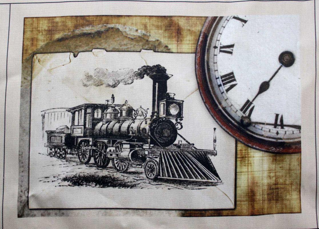 Panelový tisk - vlak s hodinami - obrázky na látce, designový tisk, tisk na přání Tukan