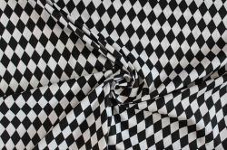 Bílá bavlna s černými kosočtverci