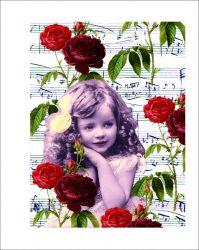 Panel holčička s notičkami a růžemi na bílém podkladu- bavlna