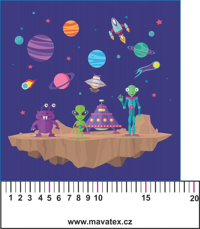 Panelový tisk - vesmír modrý- tisk obrázků, obrázky na látce Tukan