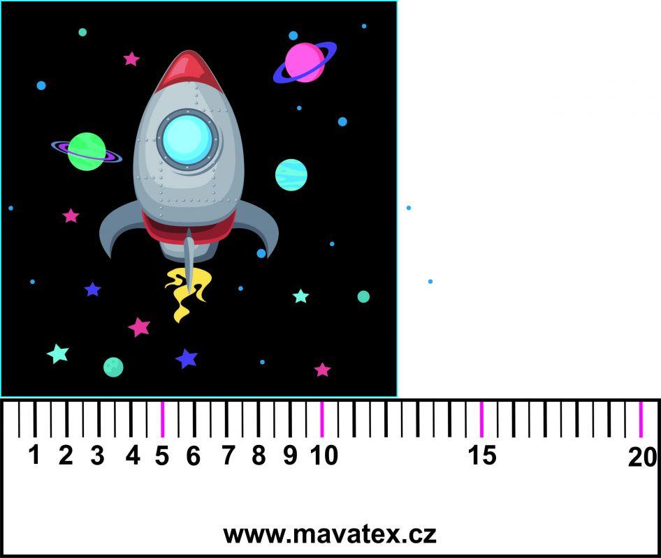 Panelový tisk - vesmírná loď černá- tisk obrázků, obrázky na látce Tukan