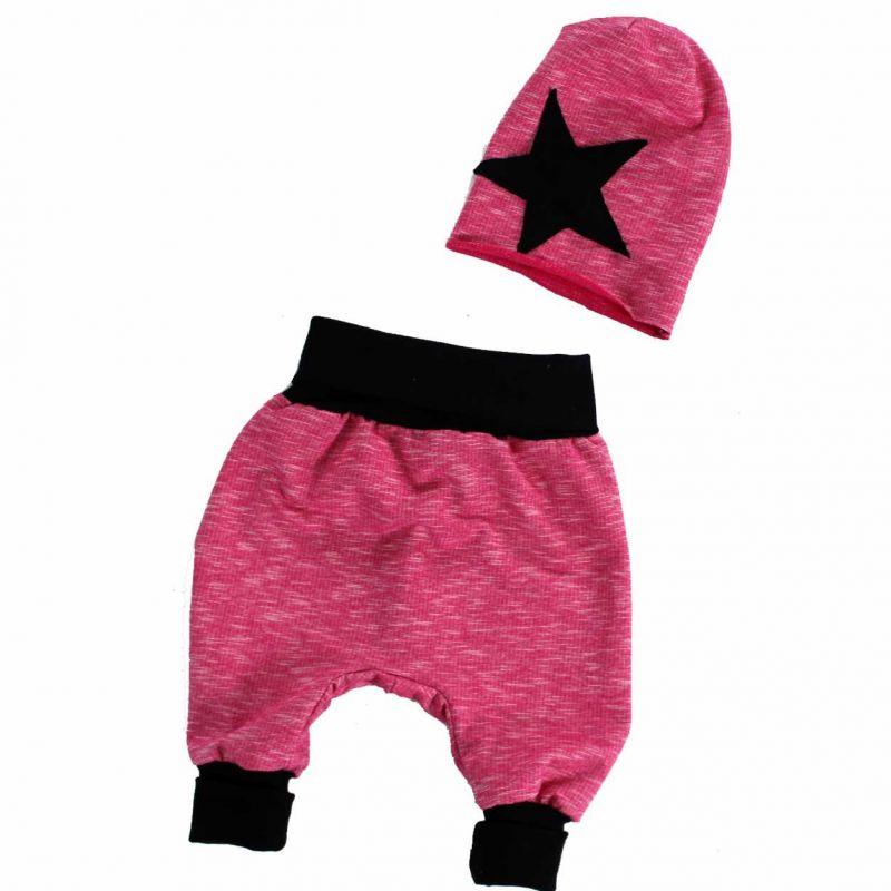 Pumpky novorozenecké +čepička skejťačka - haremky, nasrávačky, dětský set Mavatex