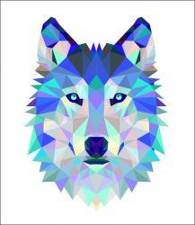 Vlk na bílém podkladu - satén