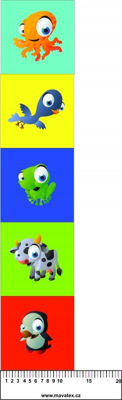 zvířátka na dětskou knížku- tisk obrázků, obrázky na látce Tukan