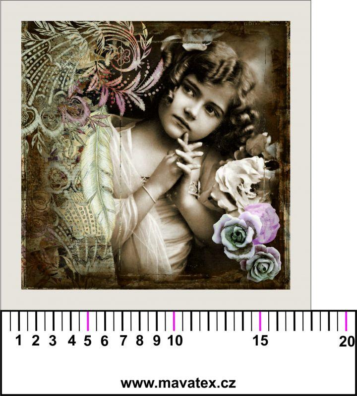 Panelový tisk - černobílá dívka s růžemi- tisk obrázků, obrázky na látce Tukan