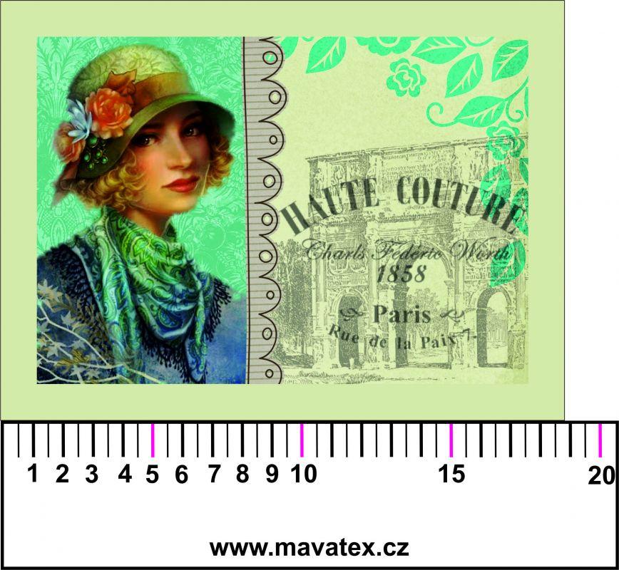 Panelový tisk - dívka s kloboukem koláž- tisk obrázků, obrázky na látce Tukan