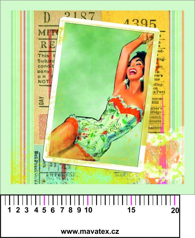 Panelový tisk - retro dívka v jednodílných plavkách- obrázky na látce, designový tisk, tisk na přání Tukan