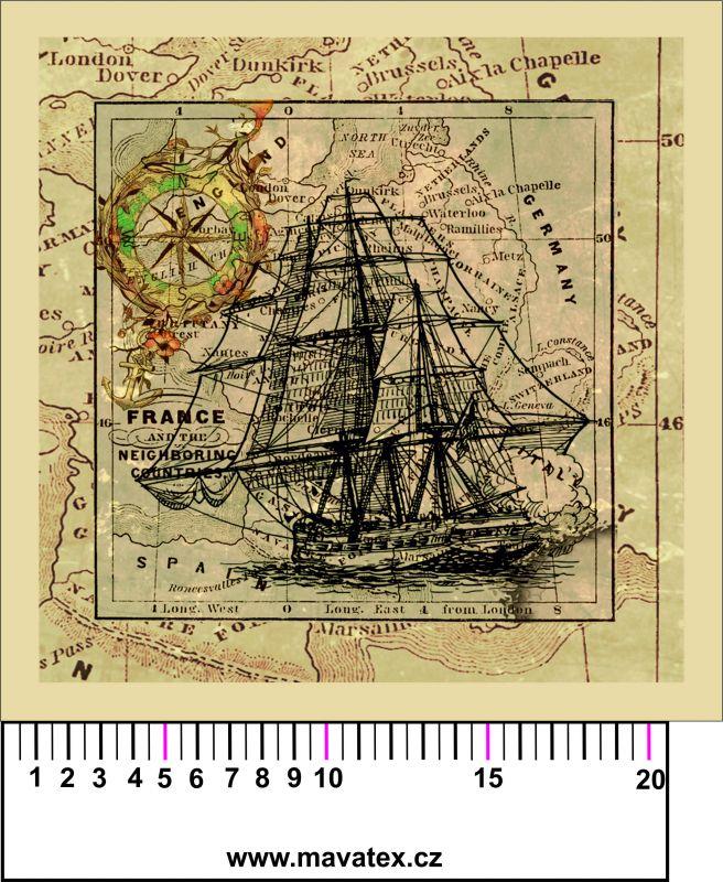 Panelový tisk - Loď na staré mapě - obrázky na látce, designový tisk, tisk na přání Tukan