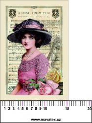 Panelový tisk - vintage dívka s notami v pozadí