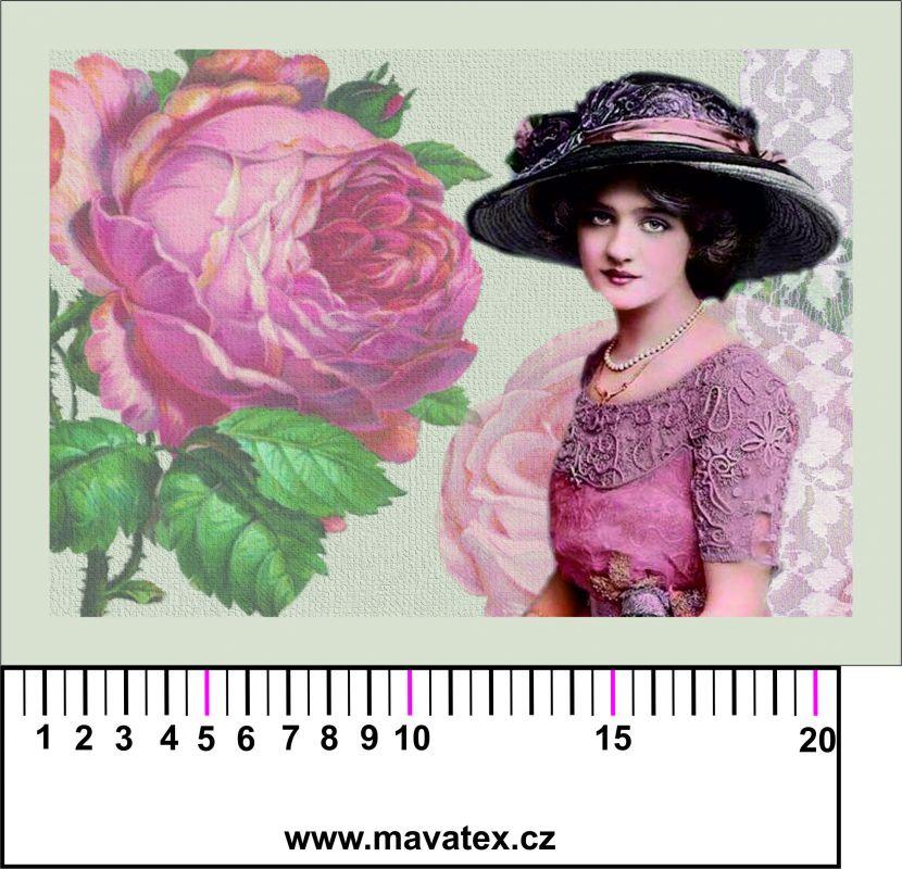 Panelový tisk - vintage dívka s velkou růží- tisk obrázků, obrázky na látce Tukan