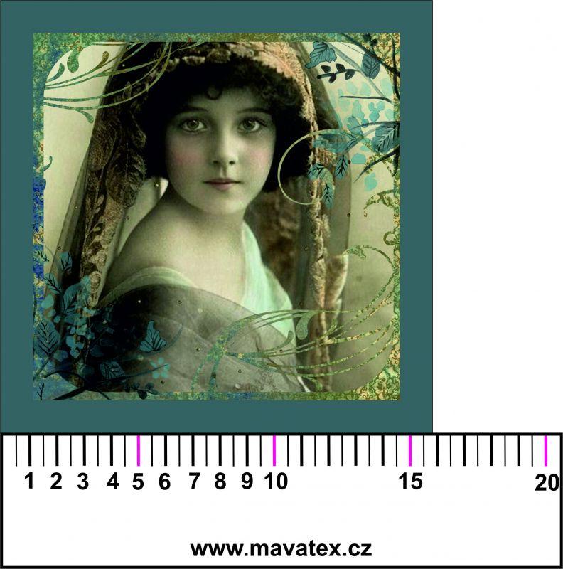 Panelový tisk - vintage dívka v zrcadle tisk obrázků, obrázky na látce Tukan