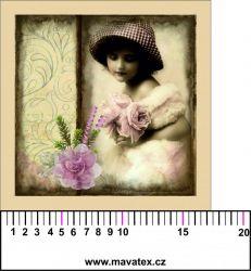 Panelový tisk - vintage holčička s karafiátem