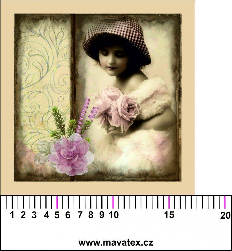 Panelový tisk - vintage holčička s karafiátem- tisk obrázků, obrázky na látce Tukan