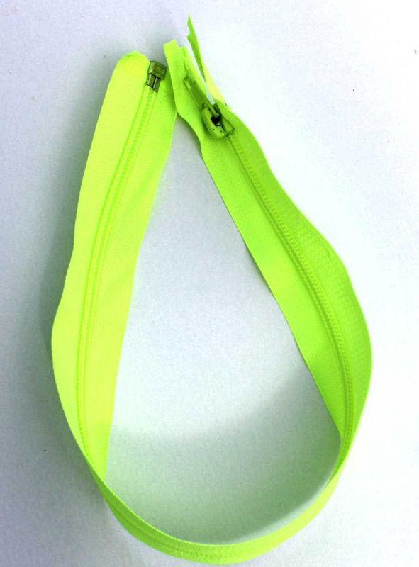 Svítivě zelený zip do mikin a bund 40 cm , zdrhovadlo, spirálový zip