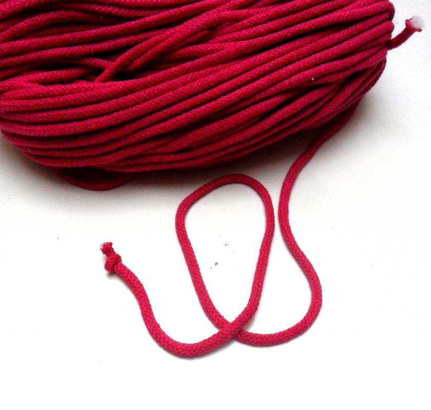 Oděvní tkanice malinová- kulatá bavlněná - tkanice k teplákům, stahovací tkanice, šňůrka na stahování kalhot vyrobeno v EU