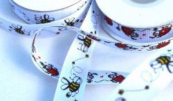 Bílá ripsová stužka s včeličkami 1,5 cm
