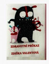 Zdravotní průkaz -auto- obrázky na látce, designový tisk, tisk na přání vyrobeno v EU- atest pro děti bavlna