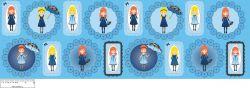 Panenky Zdišenky -panel velký modrý- aplikace k našití Tukan