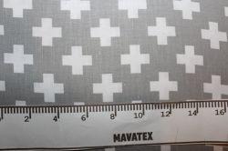 Bílá látka s šedými křížky vyrobeno v EU