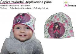 Panel na čepice - růžičky se zdišenkou tmavovlasou- aplikace k našití Tukan