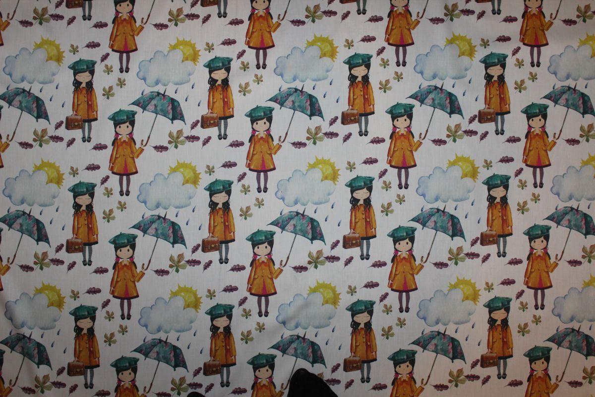 Bílá látka s holčičkou v dešti -originální metráž - designově látky Tukan