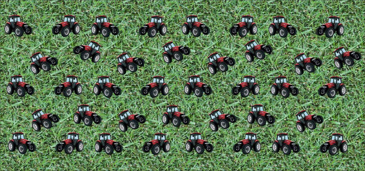 Panel na čepice - traktory na louce Tukan