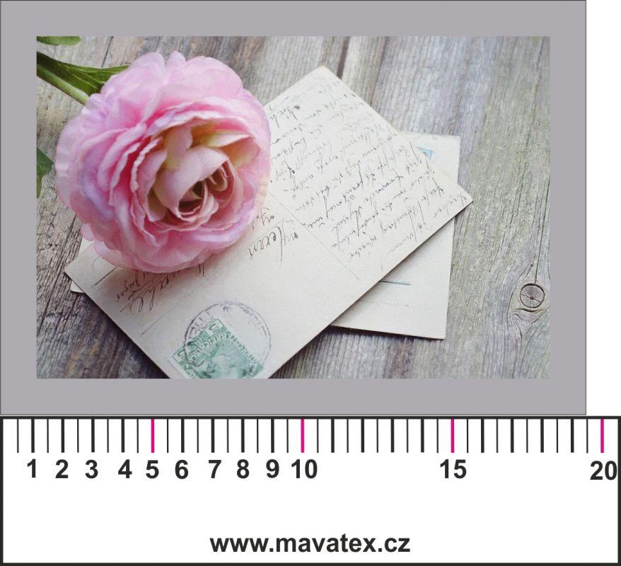 Panelový tisk - růže na dopise - obrázky na látce, designový tisk, tisk na přání Tukan