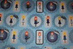 Panenky Zdišenky -panel velký modrý - satén