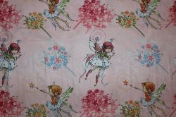 Růžová bavlna s vílami
