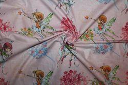 Růžová bavlna s vílami - dětská metráž vyrobeno v EU