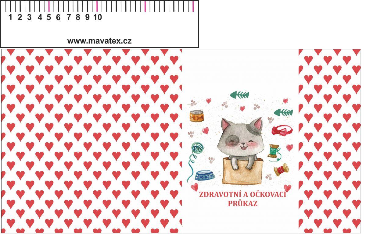 Zdravotní průkaz -kočička- obrázky na látce, designový tisk, tisk na přání Tukan