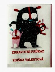 Zdravotní průkaz růžový holčička- obrázky na látce, designový tisk, tisk na přání Tukan