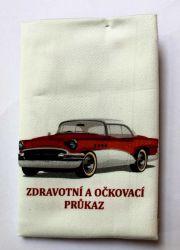 Zdravotní průkaz modré autíčko- obrázky na látce, designový tisk, tisk na přání Tukan
