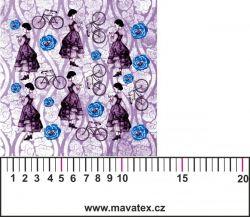 Panelový tisk-koláž růžové děvče - kepr -obrázky na látce, designový tisk, tisk na přání Tukan