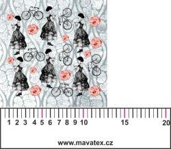 Panelový tisk-koláž růžové děvče -satén- MALÝ -obrázky na látce, designový tisk, tisk na přání Tukan