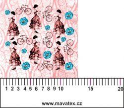 Panelový tisk-koláž růžové děvče -satén- MALÝ