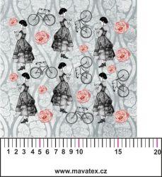 Panelový tisk-koláž šedé děvče -satén
