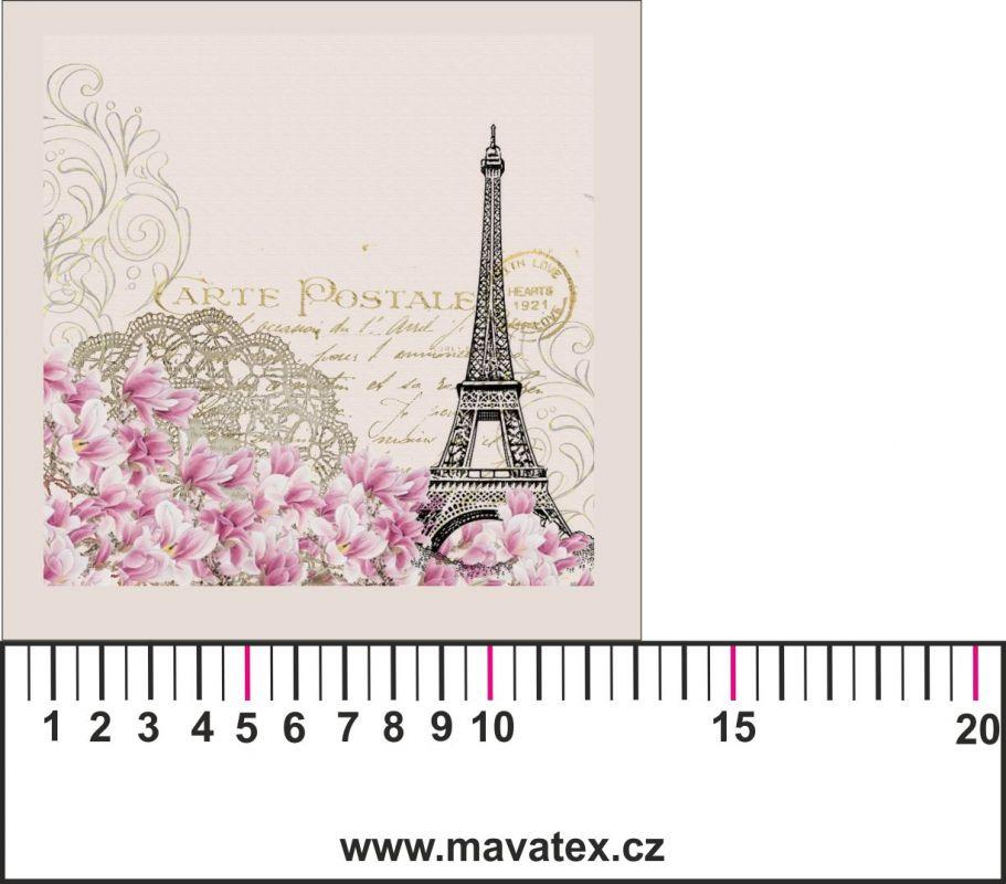 Panelový tisk-koláž POHLEDNICE Eifel - satén obrázky na látce, designový tisk, tisk na přání Tukan