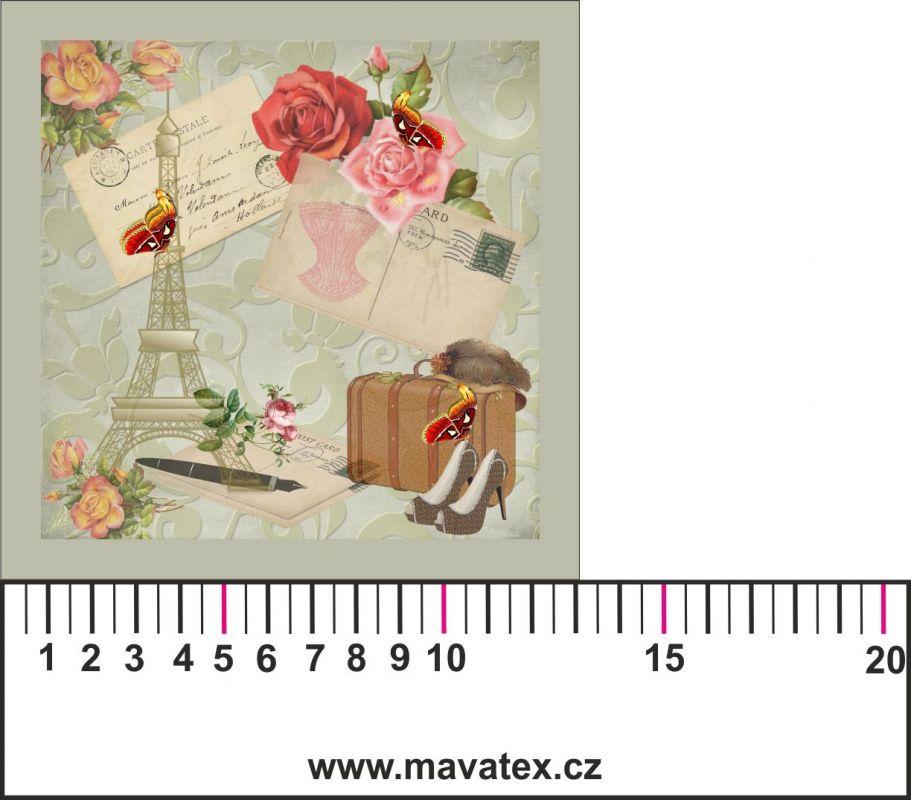 Panelový tisk-koláž POHLEDNICE Paříž - satén obrázky na látce, designový tisk, tisk na přání Tukan