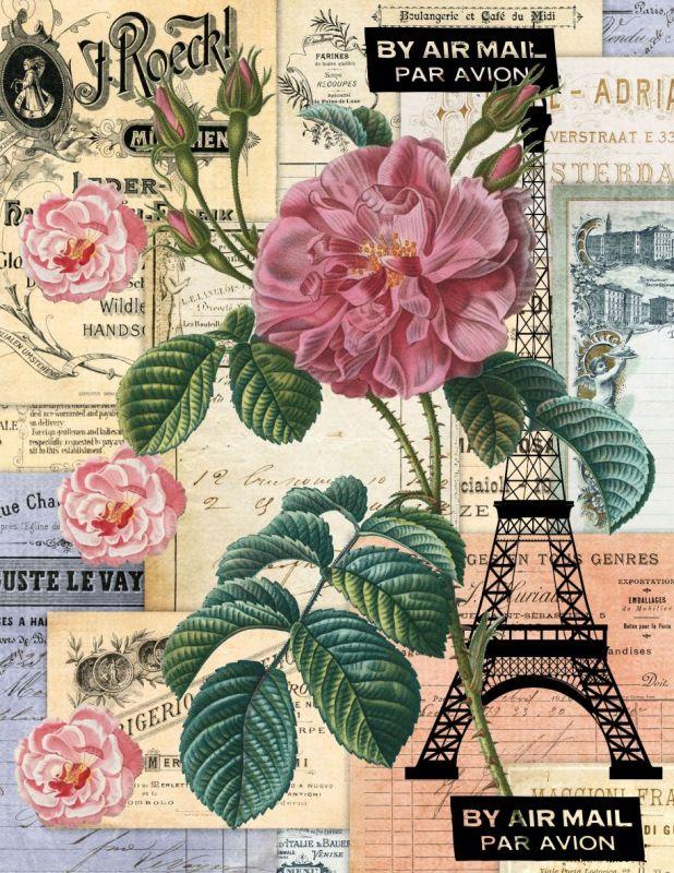 Panelový tisk-koláž Paříž -satén obrázky na látce, designový tisk, tisk na přání Tukan