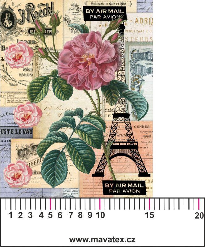Panelový tisk-koláž Paříž -obrázky na látce, designový tisk, tisk na přání Tukan
