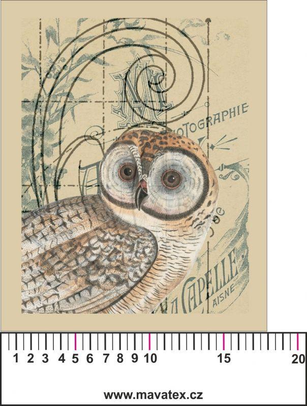 Panelový tisk- vintage sova 1- satén- obrázky na látce, designový tisk, tisk na přání Tukan