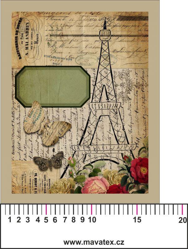 Panelový tisk vintage pohlednice s rámečkem 2- satén - obrázky na látce, designový tisk, tisk na přání Tukan