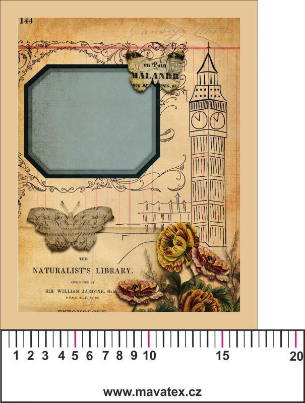 Panelový tisk vintage pohlednice s rámečkem 1- satén- obrázky na látce, designový tisk, tisk na přání Tukan