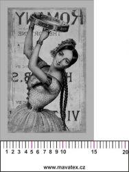 Panelový tisk vintage pohlednice černobílá dívka 7- satén