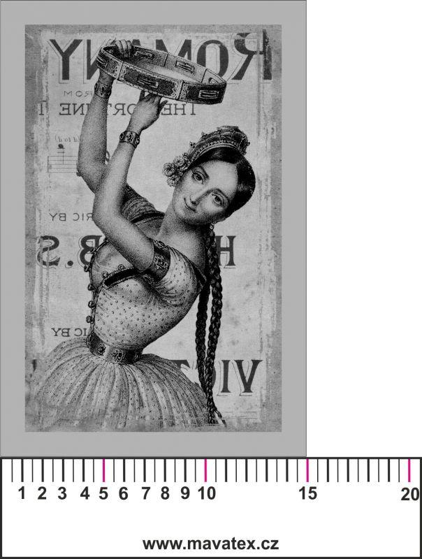Panelový tisk vintage pohlednice černobílá dívka 7- satén- obrázky na látce, designový tisk, tisk na přání Tukan