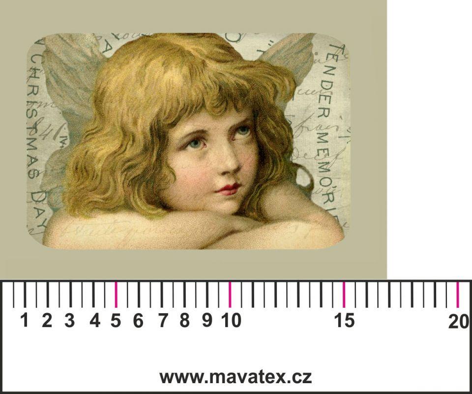 Panelový tisk - vintage anděl 3 -satén- obrázky na látce, designový tisk, tisk na přání Tukan
