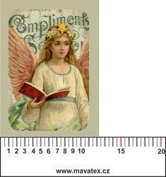 Panelový tisk - vintage anděl 2 - satén